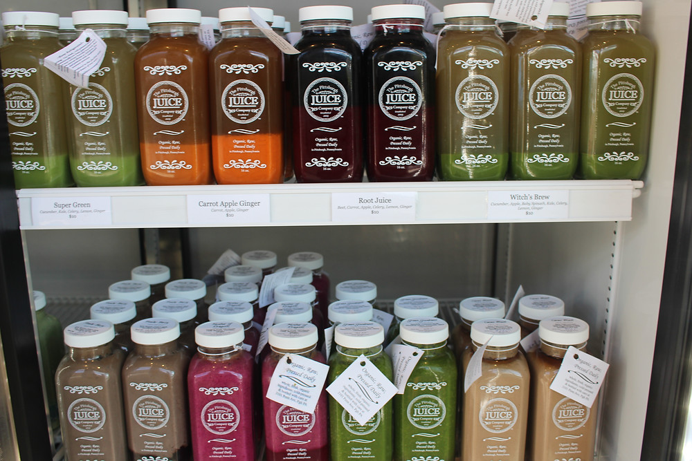 A selection of juices at The Pittsburgh Juice Company