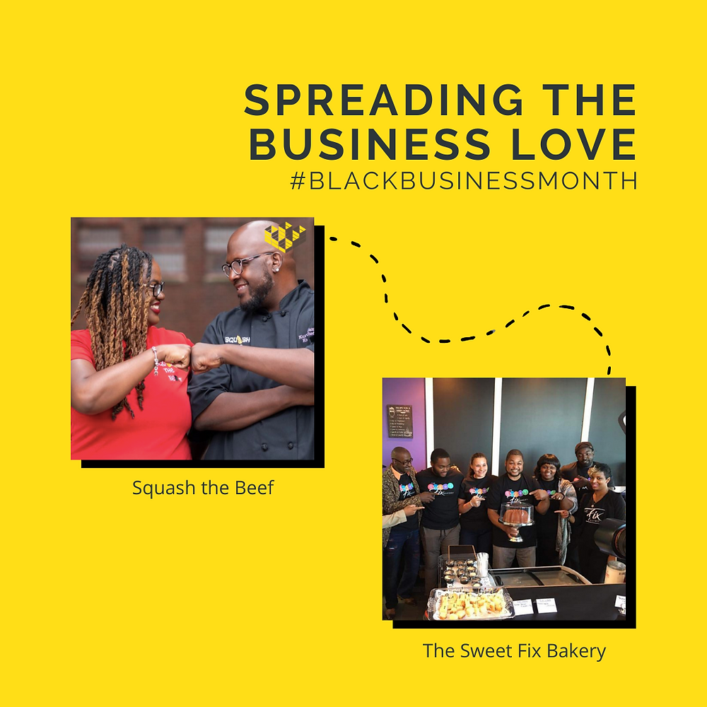 """a graphic reading """"Spreading the Business Love #BlackBusinessMonth"""" with a line going from Squash the Beef to The Sweet Fix Bakery"""