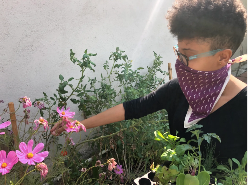 owner of Compostable LA tends the garden