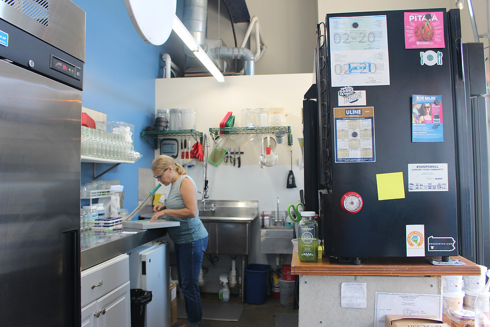 Naomi Homison in the kitchen at The Pittsburgh Juice Company