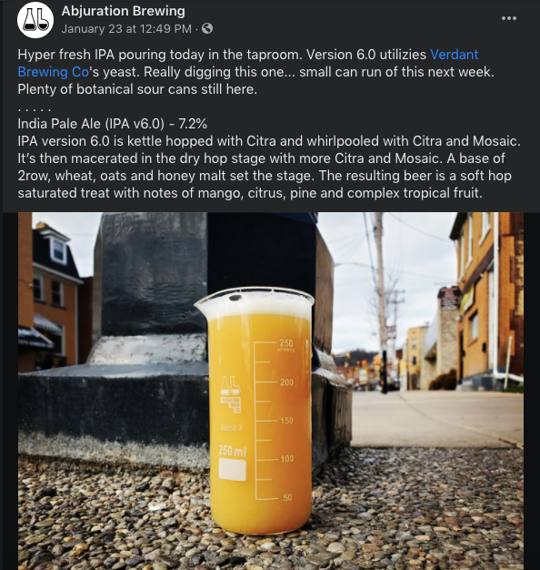 facebook post from Abjuration Brewing Company, explaing collaboration with Verdant Brewing Co's yeast