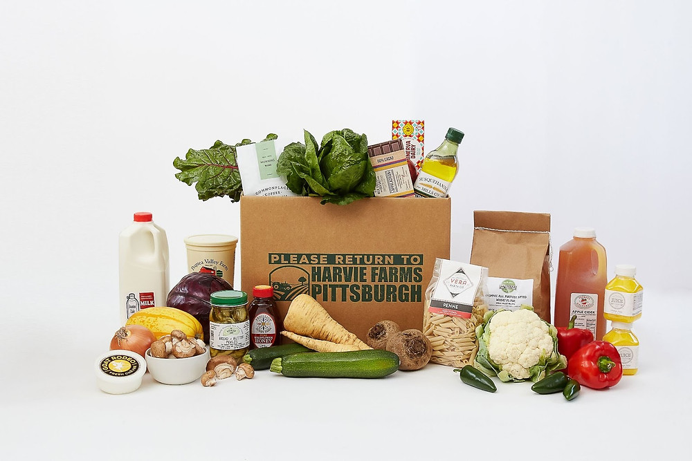 a delivery box of local farm-fresh food from Harvie