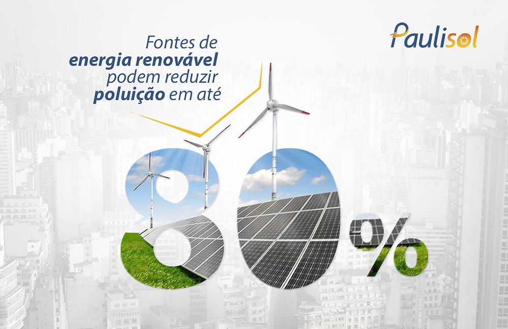 Fontes de energia renovável podem reduzir poluição em até 80%