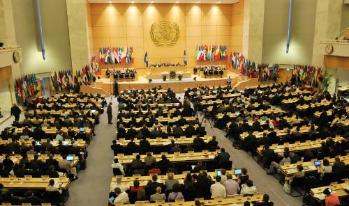 Aspecto de la Conferencia de la OIT realizada en Ginebra, Suiza