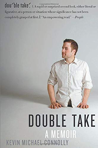Cover of Double Take, features the author on a white background with the title