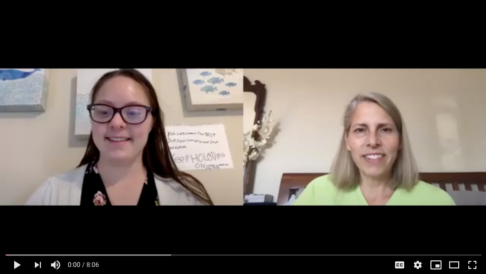 A screenshot of the video with Devon and her mom's faces smiling at the screen