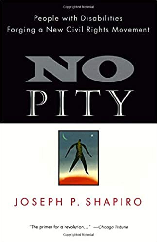 Cover of No Pity, mostly black and white, with a small color picture at the bottom of an abstract human body