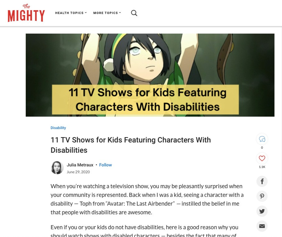 """A screenshot of the article """"11 TV Shows for Kids Featuring Characters with Disabilities"""" on The Might"""