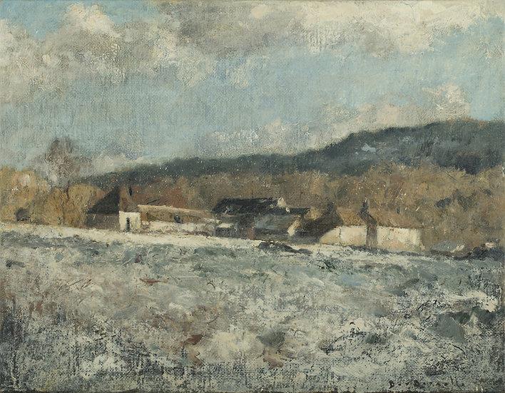 André Boubounelle / Ferme à Grosrouvre par temps de neige