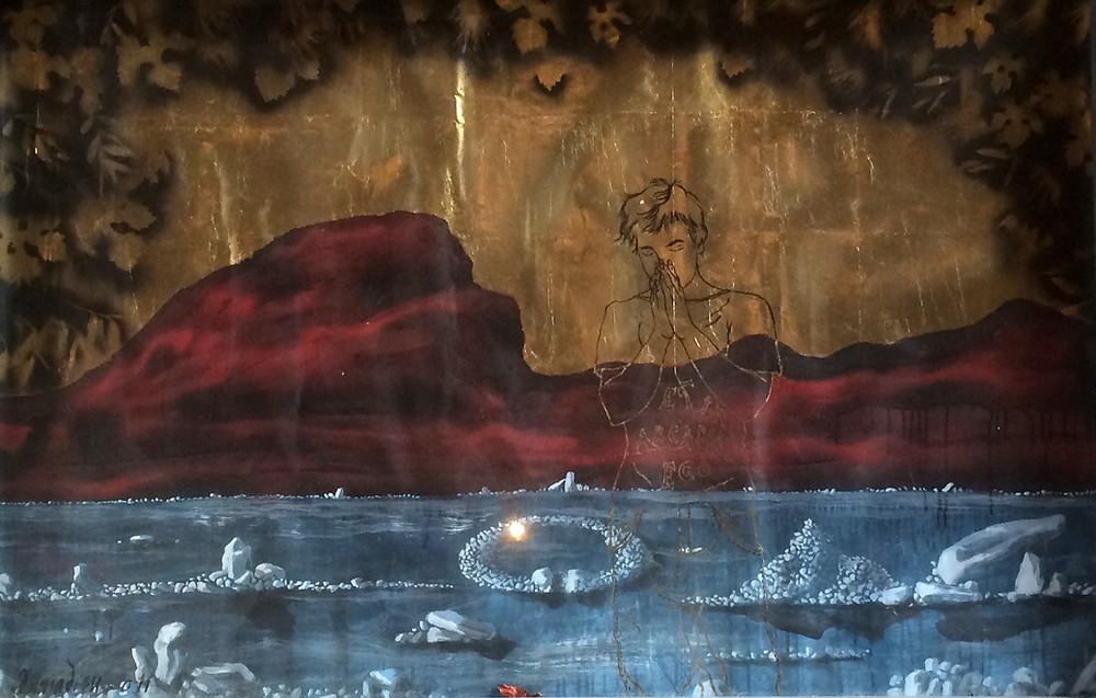 Le Berger d'Arcadie Jean-Christophe Donnadieu Peinture acrylique et feuille de cuivre sur affiches arrachées, 2012 Artismagna