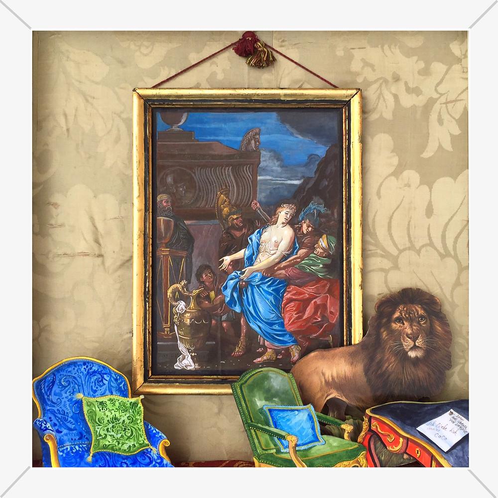 Un Dîner au Ritz Jean-Christophe Donnadieu Dessins, collages, objets anciens, vitrine en bois et verre, 2017 Artismagna