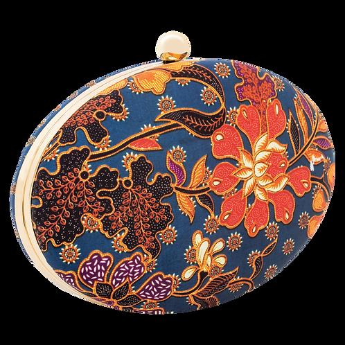 Batik Clutch Bag- Prussian Blue and Amber