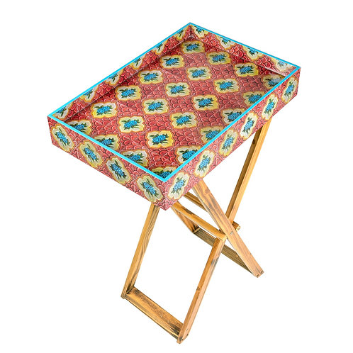 PERANAKAN TILES FOLDING TRAY TABLE (RED)