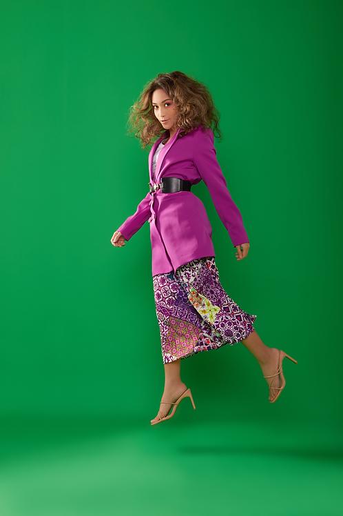 Lavender Blush Peranakan Tiles Pleated Skirt