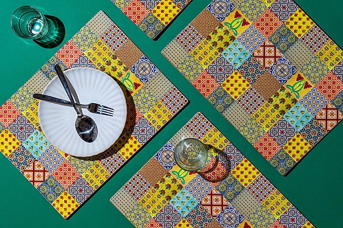 Stained Yellow Peranakan Placemats (Set of 6)