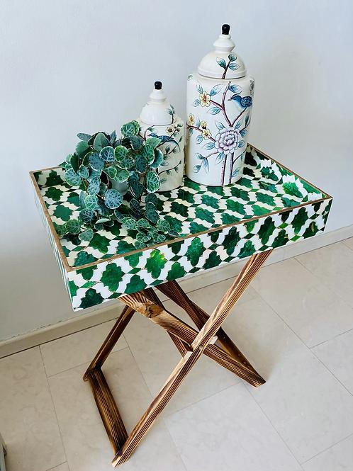 PERANAKAN TILES FOLDING TRAY TABLE (Green)