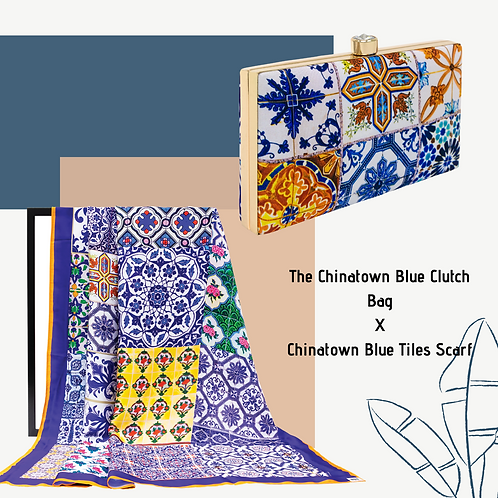 The Chinatown Blue Clutch Bag X Chinatown Blue Tiles Scarf