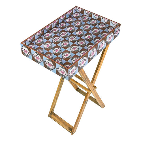 PERANAKAN TILES FOLDING TRAY TABLE (BROWN)