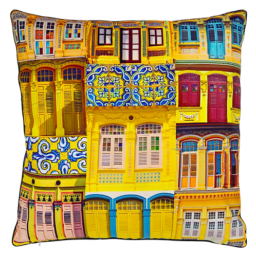 Yellow Bloom Rowhouses Cushion Cover