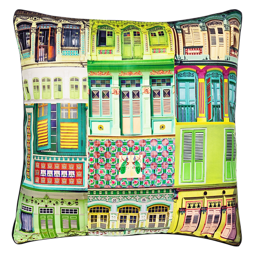 Green Hue Rowhouses Cushion Cover