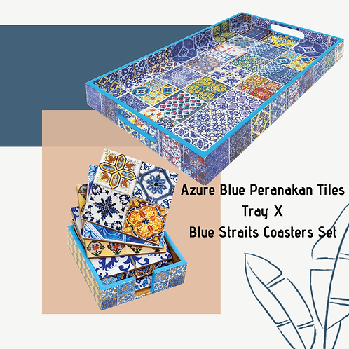 Azure Blue Peranakan Tiles Tray X Blue Straits Coasters Set