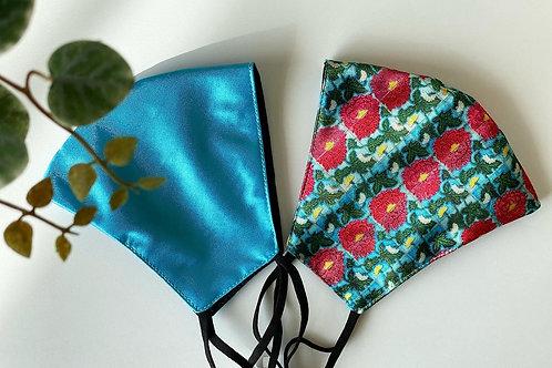 Satin Mask Pair -Turquoise (Set of two masks)