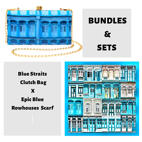 Blue Straits Clutch Bag X Epic Blue Rowhouses Scarf