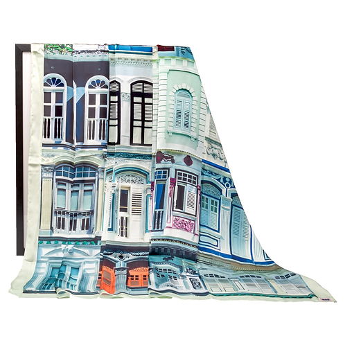 Black and White Colonial Shophouses Windows Scarf