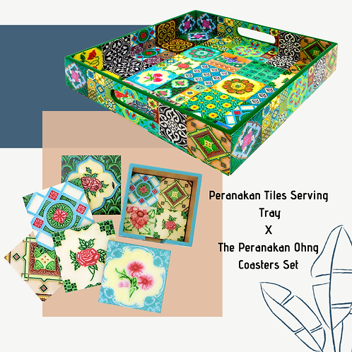 Peranakan Tiles Design Tray X The Peranakan Ohng Collection Coasters