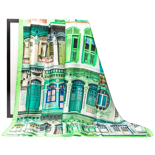 Matcha Green Colonial Shophouses Scarf