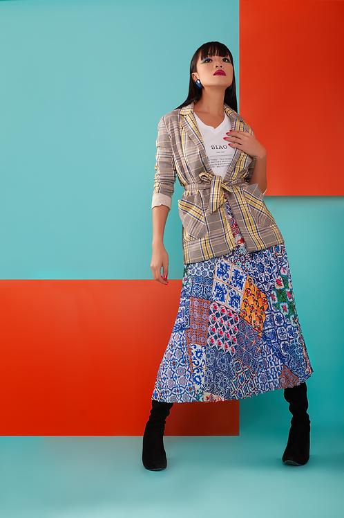 Ink Blue Peranakan Tiles Pleated Skirt