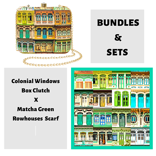 Colonial Windows Box Clutch X Matcha Green Rowhouses Scarf