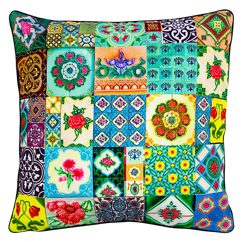 Emerald Peranakan Tiles Design Cushion Cover