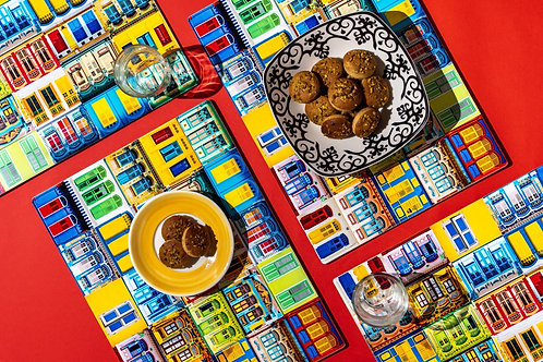 Rowhouses Windows Placemats (Set of 6)