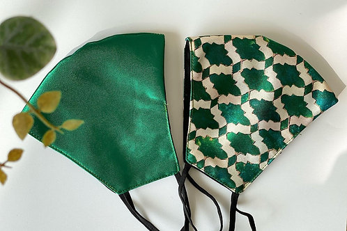 Satin Mask Pair - Basil (Set of two masks)
