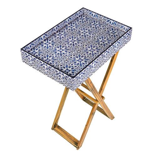 PERANAKAN TILES FOLDING TRAY TABLE (BLUE)