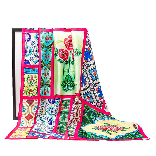 Fuchsia bordered Peranakan Tiles Print Scarf