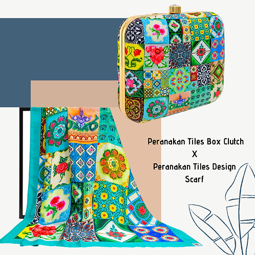 Peranakan Tiles Box Clutch X Peranakan Tiles Design Scarf