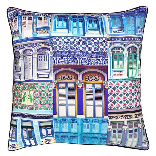 Blue Glaze Rowhouses Cushion Cover