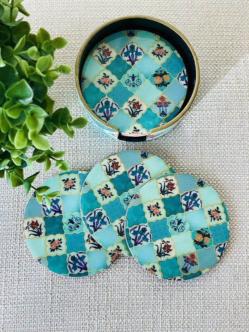 The Teal Set of 6 Coasters