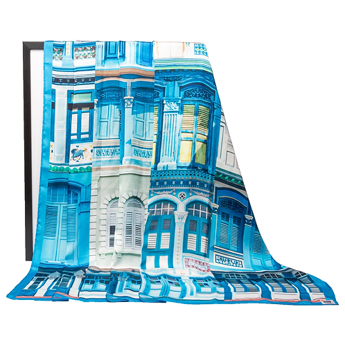 Epic Blue Colonial Shophouses Windows Scarf