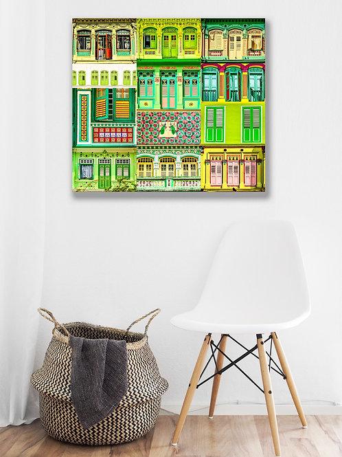 Matcha Green Shophouses Windows Collagde