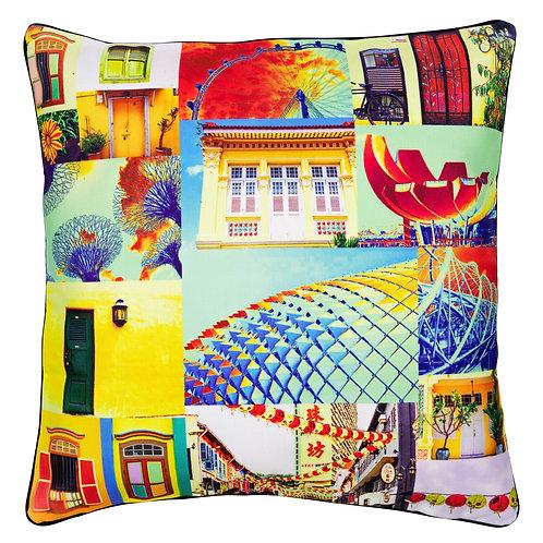 Singapore Pop-Up Art Print Cushion Cover
