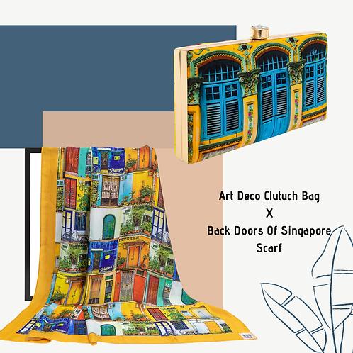Art Deco Clutch Bag X Back Doors Of Singapore Scarf