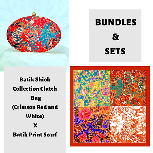 Batik Shiok Collection Clutch Bag (Crimson Red and White) X Batik Print Scarf