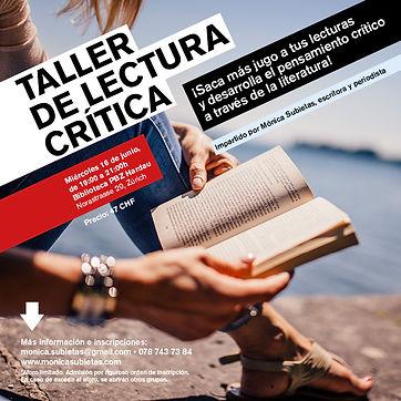 Flyer taller de lectura crítica junio 2