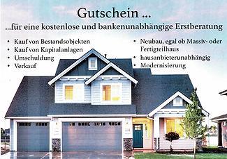 Gutschein für eine Baufinanzierungsberatung H. Jan Doberenz - Hausbau Berater Team Fertig.- Massivhaus Anbieter