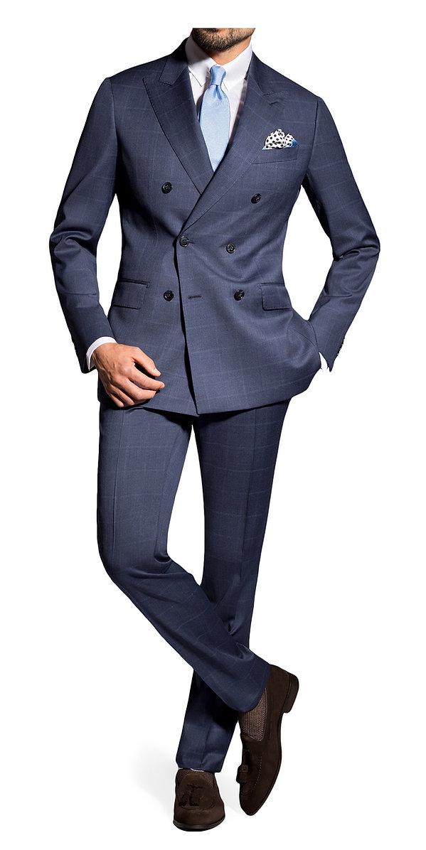 Costume croisé bleu à carreaux By Monsieur