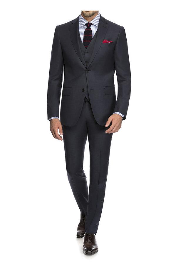 Costume trois pièces gris et cravate en laine By Monsieur
