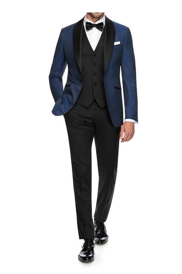 Costume de marié bleu avec revers satin By Monsieur